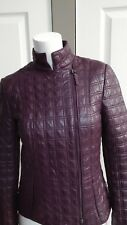 NEW WORTH NEW YORK MERLOT QUILTED LEATHER JACKET SIZE 0