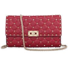 Valentino Rockstud Spike Leather Shoulder Bag - Red