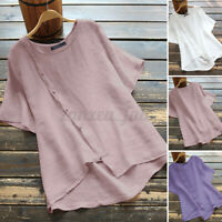 Womens Summer Short Sleeve O Neck Solid Cotton Shirt Tee Casual Loose Top Blouse