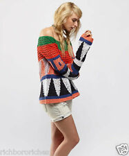 NEW Free People Jumper in Color Block Knit Modern Art Pullover Sweater S $168