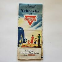 Vintage Map Conoco Travel Nebraska Road Street Highway 1970s?