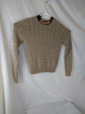 Polo by Ralph Lauren Beige Cotton Cable Knit Crewneck Sweater - Mens medium B26