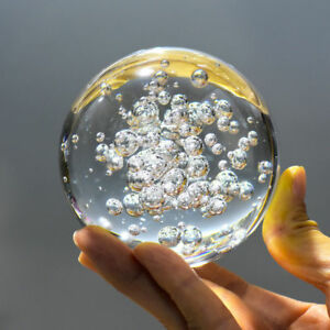 Clear Bubble Art Glass Ball Sphere Paperweight photography Prop 40mm