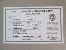 Danbury Mint Paperwork 1951 Studebaker Commander Coupe