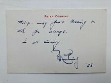 More details for original peter cushing signed personal card dated 1983 star wars rotj era