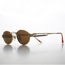 Gothic Steampunk Victorian Oval Vintage Sunglasses Gold/Brown- MAXWELL