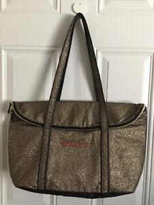 "Victoria Secret XL Tote Bag Gold Metallic Glitter 16""x14.5""x7"""