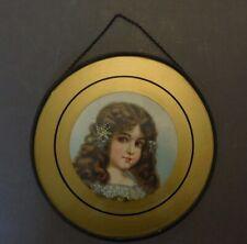 Antique Victorian Flue Cover Chromos Lithograph Tin Glass Gold Young Girl (H)