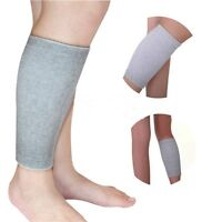 Grey Elasticated Calf Shin Support Compression Brace Sleeve Guard Sport Gym