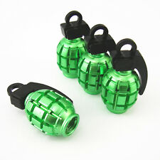 4 Pcs Universal Green Grenade Style Wheel Tyre Tire Valve Stem Cap Dust Covers