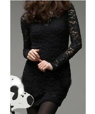 NEW BLACK LACE LONG SLEEVE MINI DRESS, SIZE 8-10