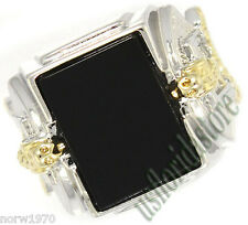 Mens Genuine Black Onyx Snake Two Tone Plated Ring Size 13