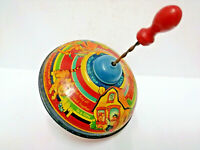 Vintage Tin Plate Chad valley childrens spinning top - There was a crooked man