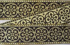 Wide, Jacquard, Chasuble, Vestment Trim. Black & Gold