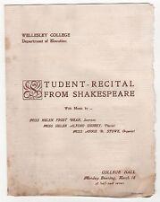 1900s WELLESLEY COLLEGE SHAKESPEARE Student Recital Program HELEN FROST BEAN