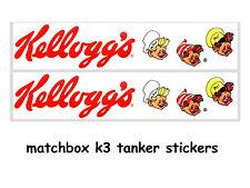 MATCHBOX DIE CAST TOYS K3 STICKERS KELLOGGS