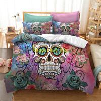 Floral Skull Single/Double/Queen/King Size Bed Quilt/Doona/Duvet Cover Set