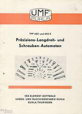 VEB Gottwald Uhrenfabrik Ruhla Schrauben Automat Typ 652 Prospekt 1956 DDR