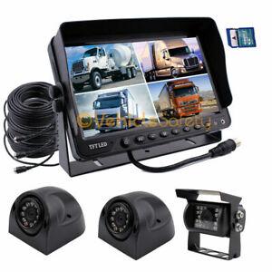 """9"""" Split Screen Monitor DVR 3x Backup Camera & Side Camera for Truck Trailer RV"""