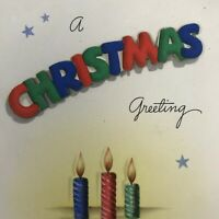 Vintage Early Mid Century Christmas Greeting Card 3D Words Candles Hallmark