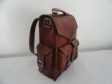 Men's Genuine Leather Large Backpack Hiking Laptop Messenger Bag Heavy Duty 15""