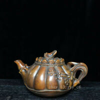 """3.2"""" Chinese antiques Boxwood Hand-carved Pumpkin type Portable teapot"""