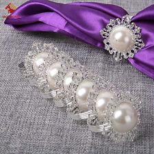12pcs Pearls Metal Napkin Ring Handmade Serviette Buckle Holder Wedding Dinner