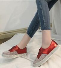 Womens Casual Loafer Lace Up Bling Sequins Leisure Athletic Sports Low Top Shoes