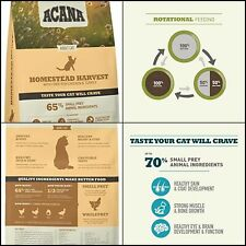New listing Acana Cat Homestead Harvest Protein Rich Real Meat Premium Dry Cat Food Chicken
