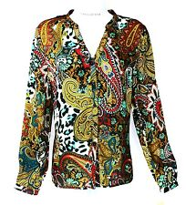 JOHN PAUL RICHARD Blouse Black Lace in Back Size S  Paisley/Animal NWT $46