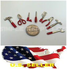 1/12 scale 8 x hand tools metal Wrench Pliers Screwdriver hammer saw US seller
