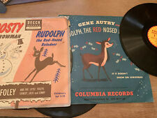 Lit Of 2 Vintage Christmas Records 1950s Rudolph Gene Autry Frosty Red Foley