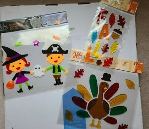 LOT of 3 Window Gel Clings Pirate Witch / Fall Leaves / Turkey Halloween Thanks
