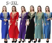 Muslim Women Maxi Dress Cocktail Party Robe Abaya Kaftan Islamic Dresses Gowns