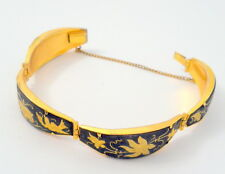 Damascene Bracelet 5 Hinged Pieces Birds Flowers Black Gold Enamel Vintage