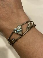 Vintage Alpaca Mexico Silver Abalone Heart With Leaves Inlay Cuff Bracelet 8.9g