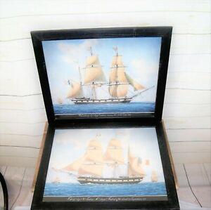 2 x Framed Vintage Fine Art Maritime Nautical Prints French C19th Sailing Ships