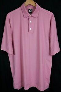 FootJoy FJ Mens sz XL Pink White Striped Performance Polo Shirt