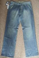 "LeBreve Le Breve Mens BLUE dirty denim jeans 'Open Road', Waist 30"" 32"" 34"" 36"""