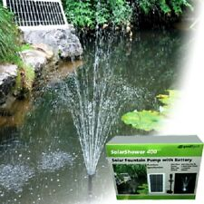 Solar Powered Water Garden Pond Feature Pump, 105GPH Battery backup w/LED Lights