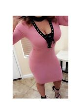 New*Women's Sexy Pink Ribbed Lace Up Evening Cocktail Dress*Medium*A20571*