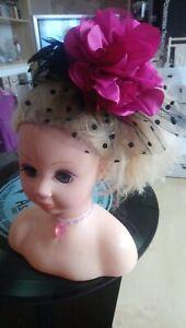 Pink And Black Fasinator On A Headband.#75