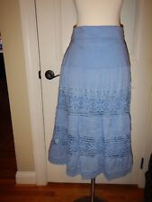 NEW Simply Noelle L XL 12 14 Blue Lace Lined Fold-Over Waist Peasant Skirt NWT