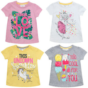 Girls Short Sleeve Mermaid Unicorn T Shirt Slogan Top Ballerina Fairy Princess