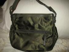 Tumi Olive Green Tote Purse Nylon with Leather Shoulder Strap