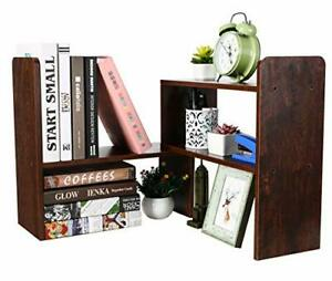 Desktop Bookshelf Adjustable Countertop Bookcase Office Supplies Wood Brown