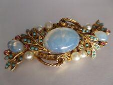 """Molto elegante, vintage in finta pietra di luna, perle e turchese Spilla-FIRMATO """"ARTE""""."""