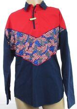 Vintage Mens Roper Sport American Flag 1/4 Button Western Shirt Medium