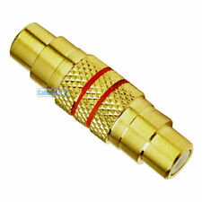 RCA PHONO FMALE SOCKET TO SOCKET BARREL COUPLER GOLD PLATED AUDIO ADAPTER