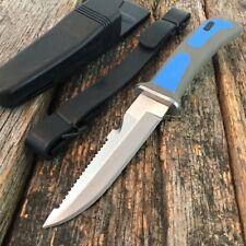 "9"" BLUE Scuba Diver Knife Dive Aqua Gear Leg/Arm Straps Sheath Hunting S"